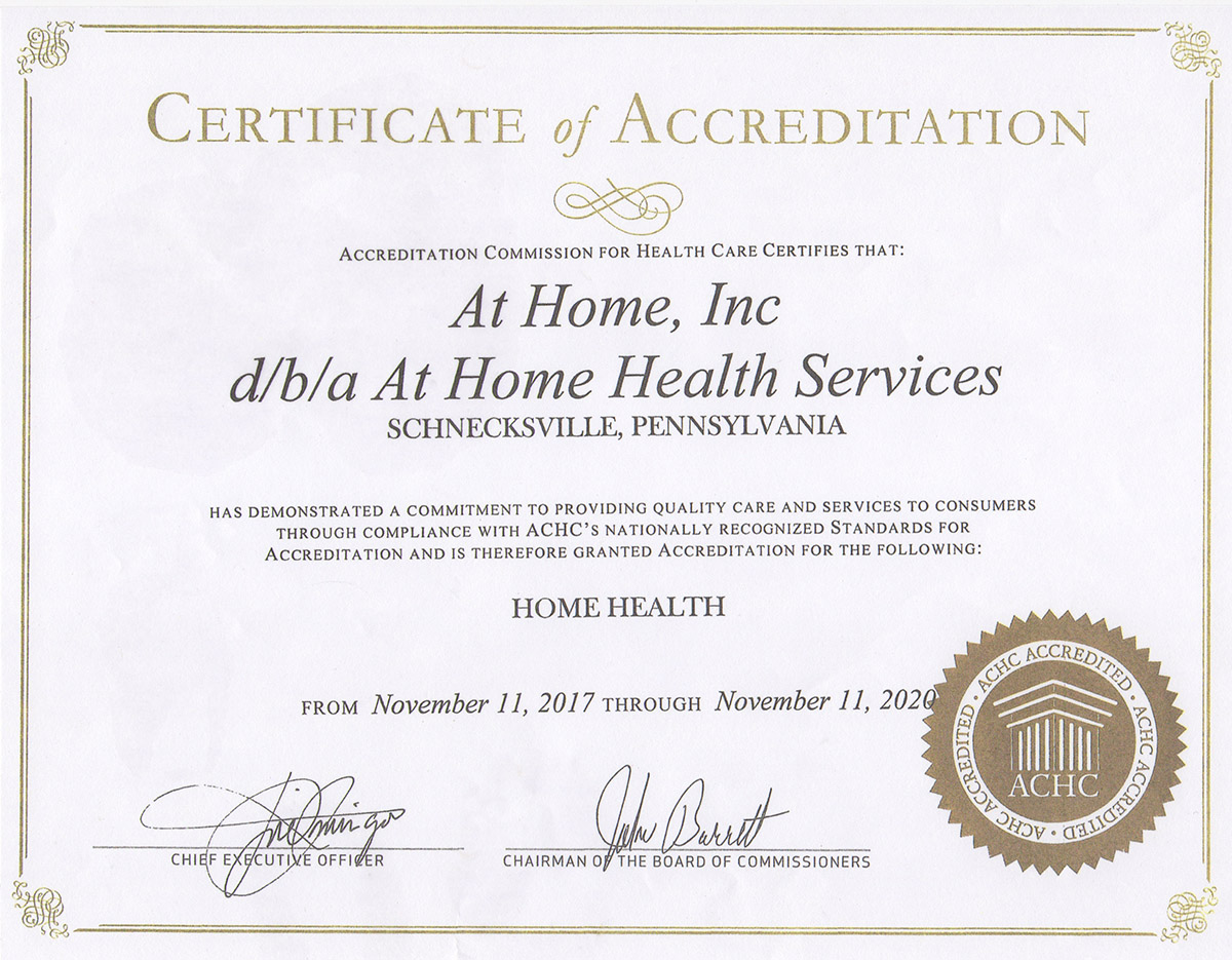 Home at home at home health care services certificate of accreditation 1betcityfo Gallery